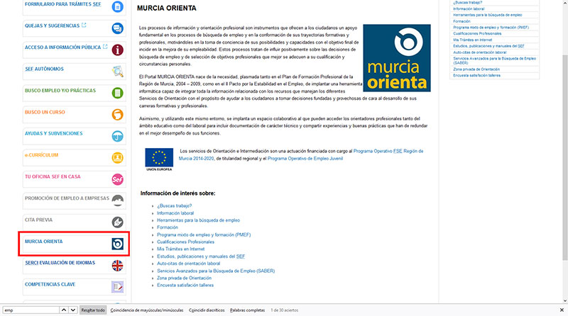 Sefcarm Bolsa De Cursos Y Empleo De Murcia